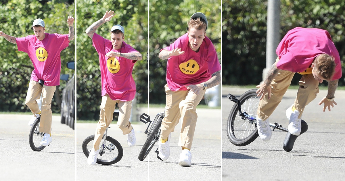Justin Bieber Tries To Ride A Unicycle